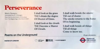 Romanian Cultural Institute in London, poem by Marin Sorescu, Poems on the Underground, Facebook.