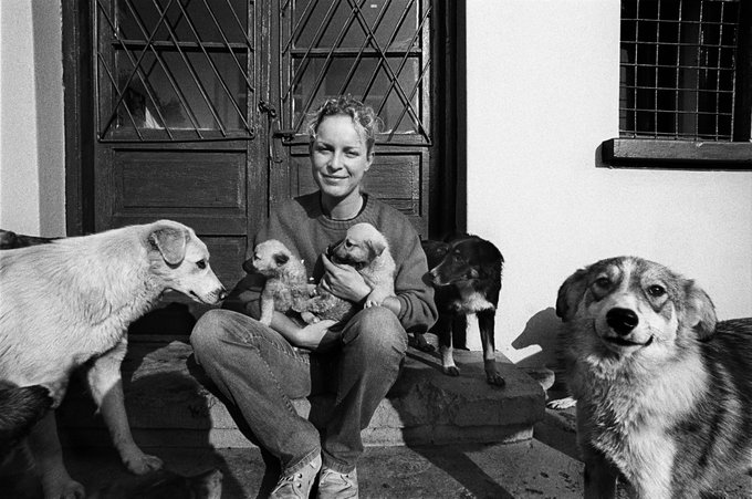 Sara Turetta at Save the Dogs shelter, Cernavoda, 2003, by Francesco Cito